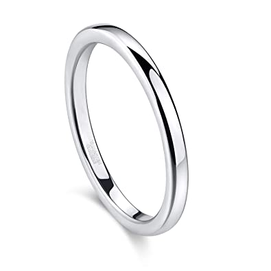 d9183a4894731 Greenpod 2mm Tungsten Wedding Bands Ring for Women Rose Gold/Silver  Polished Slim Engagement Promise Rings Comfort Fit Size 4-12