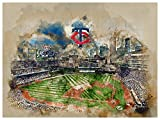 Atlas Minnesota Twins Poster Watercolor Art Print 12x16 Wall Decor