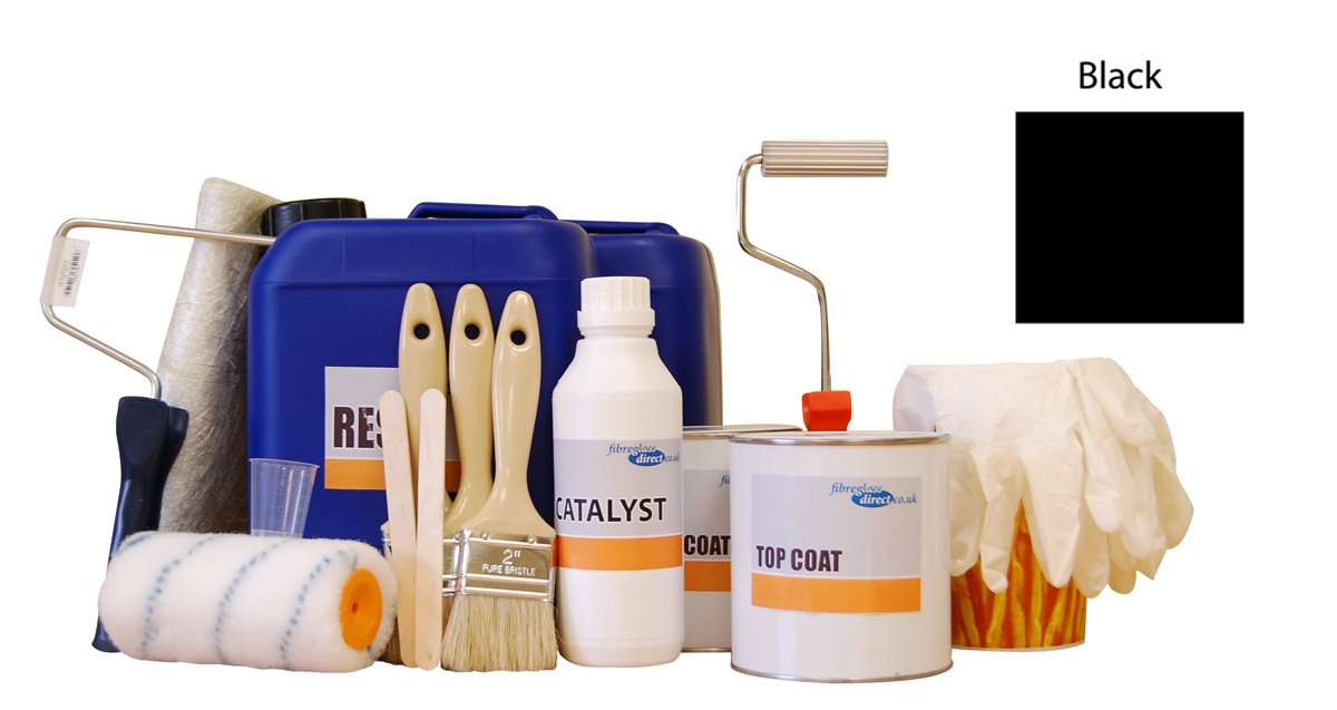 9917005.B 5m² Professional Fibreglass/GRP kit incl. Black topcoat reisn, glass matting and application tools by FibreGlassDirect