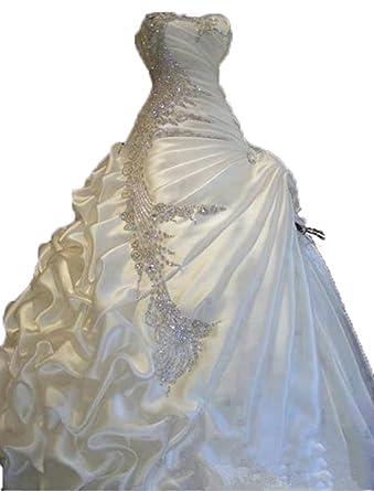 Lovelybride Exquisite Satin Crystal Beaded Wedding Dresses Bridal ...