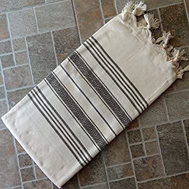 Natural & Brown Turkish Towel Peshtemal - 100% Natural Dyed Cotton - for Beach Spa Bath Swimming Pool Hammam Sauna Yoga Pilates Fitness Gym Picnic Blanket (Dandelion Textile)