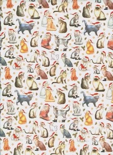 santa cats rolled christmas gift wrap paper - How To Wrap A Cat For Christmas