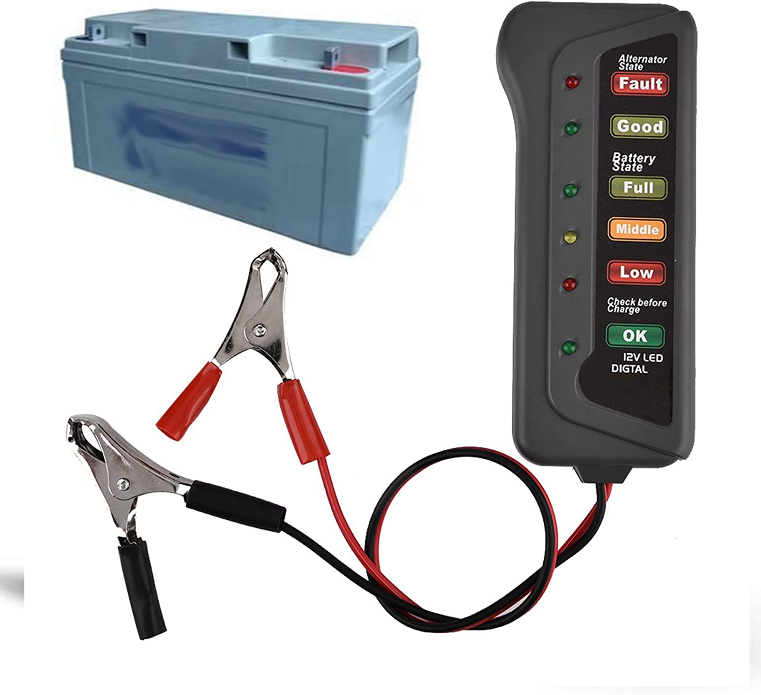 12V Digital Auto Battery Tester and Alternator Tester with Testing Clips Battery Load Tester Analyzer LED Indication for Cars Motorcycles Trucks DaMohony Car Battery Tester Analyzer