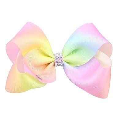 amazon com heart speaker large hair bow rainbow bows dance mom