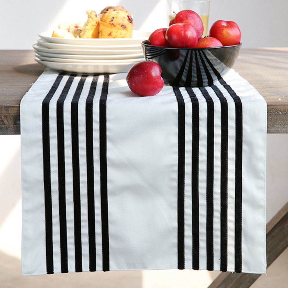 Striped table flag/simple table/long meal mat-black 34x180cm(13x71inch)