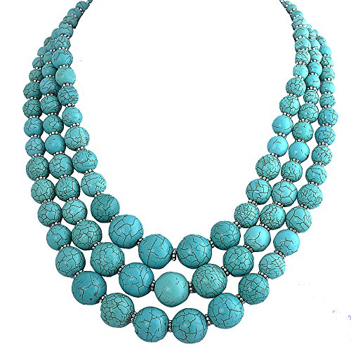 Jane Stone Turquoise Blue Bubble Necklace 3-Layer Illusion Necklace Wedding Bridal Jewelry (Fn0659-Turquoise
