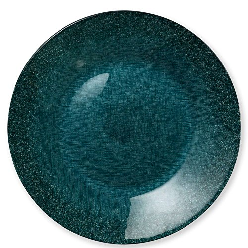 Vietri Glitter Glass Teal Service Plate/Charger (Charger Teal Plates)