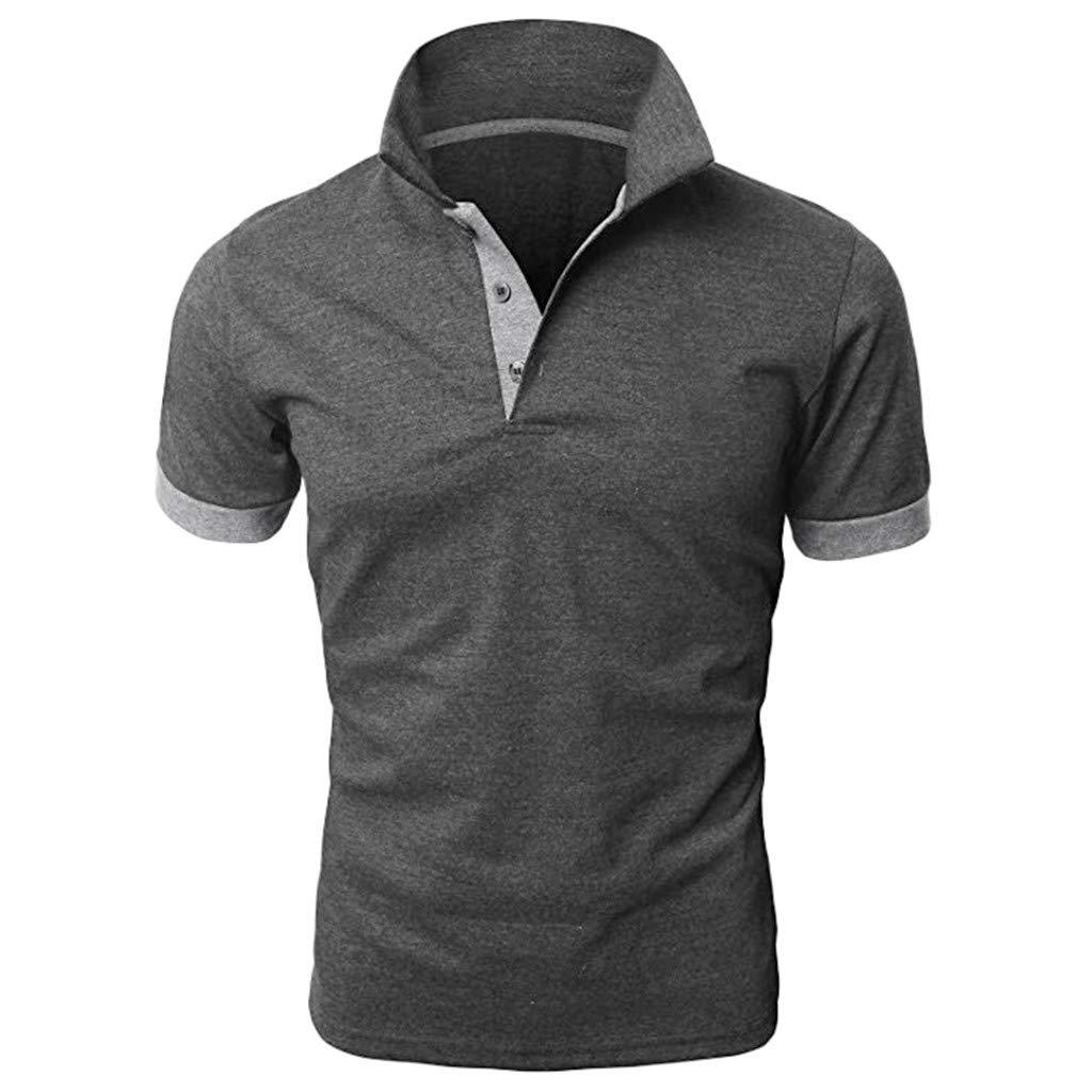 Men's Patchwork Shirt Double Color T-Shirts Top Blouses Men's Short Sleeve Slim Patchwork T Shirt (M, Dark Gray)
