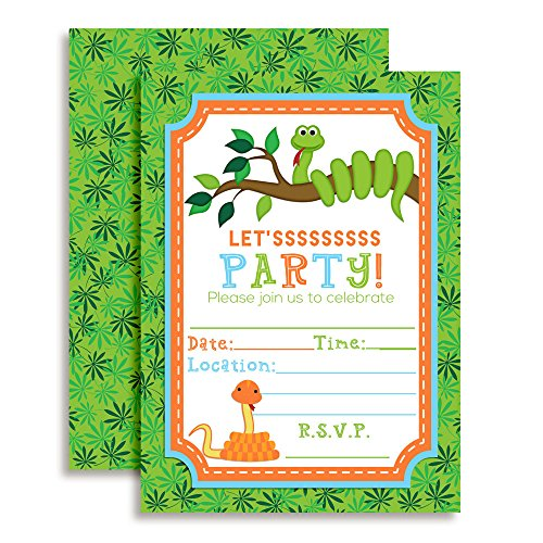 Snake Themed Birthday Party Invitations, 20 5