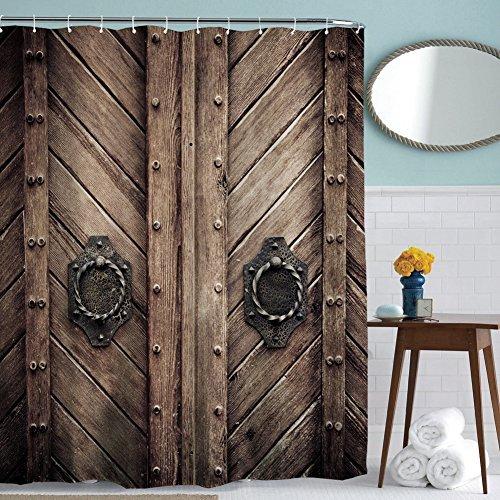 Bath Shower Curtain Mildew-ResistantWater-Repellent & Antibacterial, Polyester Bath Curtain with 12 Hook, 180*180cm (Wooden Bridge)