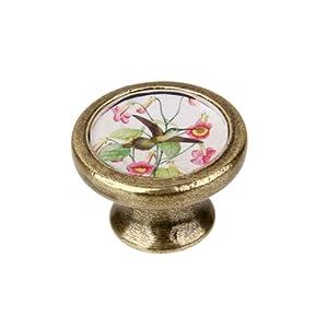 Gazechimp Poignée Bouton De Porte Rond Vintage Rétro Pour Tiroir Portes  Armoire   Fleur Oiseau #