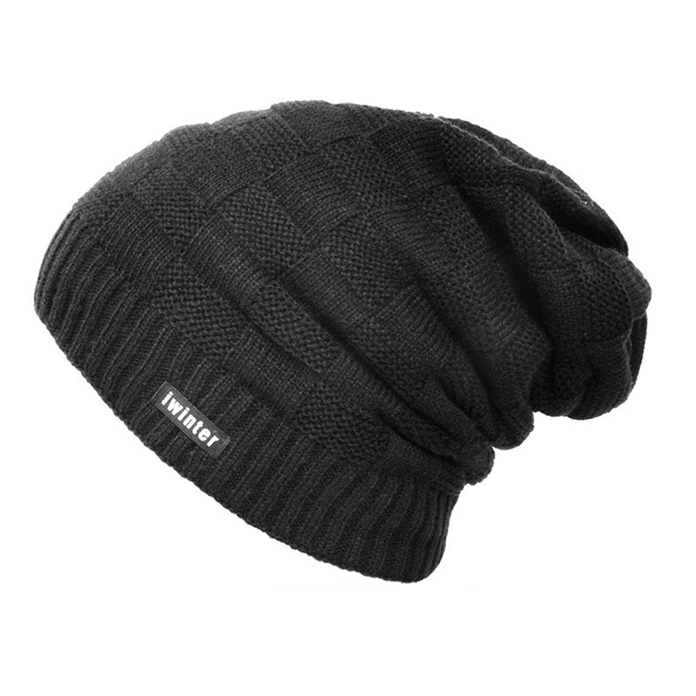 a7a48f4adf8 Men and Women Winter Warm Beanie Hat Soft Kitted Casual Thick Solid Stripe  Cap (black) at Amazon Men s Clothing store