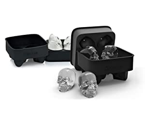 3D Skull Flexible Silicone Ice Cube Mold Tray, Makes Four Giant Skulls, Round Ice Cube Maker, Black - Pack of 2, By DineAsia