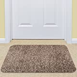 Large Indoor Doormat Super Absorbs Mud Mat 36''x 24'' Latex Backing Non Slip Door Mat for Front Door Inside Floor Dirt Trapper Mats Cotton Entrance Rug Shoes Scraper Machine Washable Carpet Brownish Tan