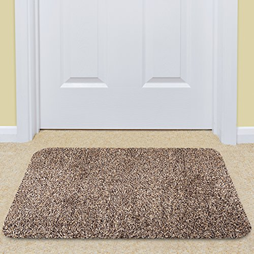Large Indoor Doormat Super Absorbs Mud Mat 36''x 24'' Latex Backing Non Slip Door Mat for Front Door Inside Floor Dirt Trapper Mats Cotton Entrance Rug Shoes Scraper Machine Washable Carpet Brownish Tan by BEAU JARDIN