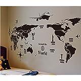 ORA 磁石 世界地図 Around the world 大きめサイズ ウォールステッカー ウォールペーパー シール 130*70CM