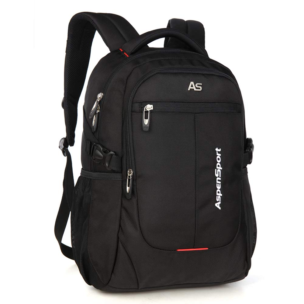 ASPENSPORT Laptop Backpack Fit 15.6 Inch Computer College Student Bookbag Big Business Travel Waterproof Durable Daypack for Men and Women Black by ASPEN (Image #1)