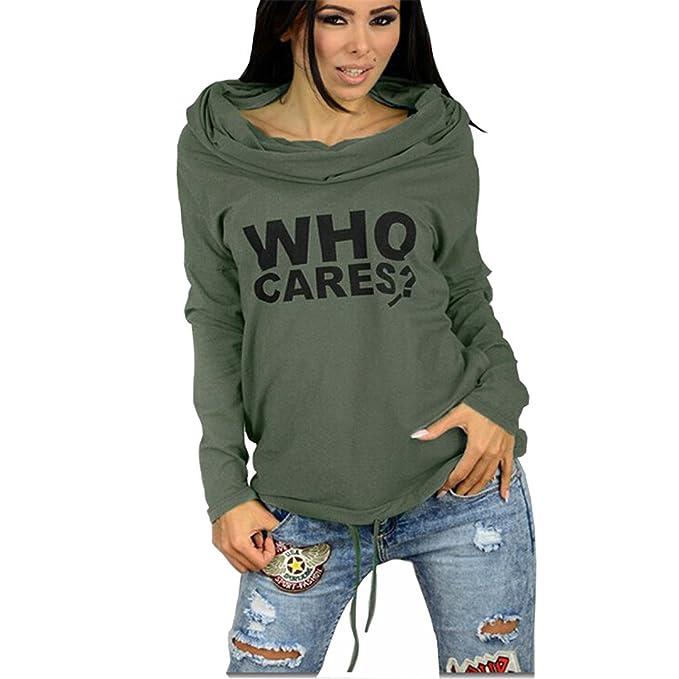 Hoodieem Otoño Mujer Sudaderas Sudadera Chándal Mujer Casual Imprimir Carta Long-Sleeve Sudaderas con Capucha Jerseys Verdes del ejército 5XL: Amazon.es: ...
