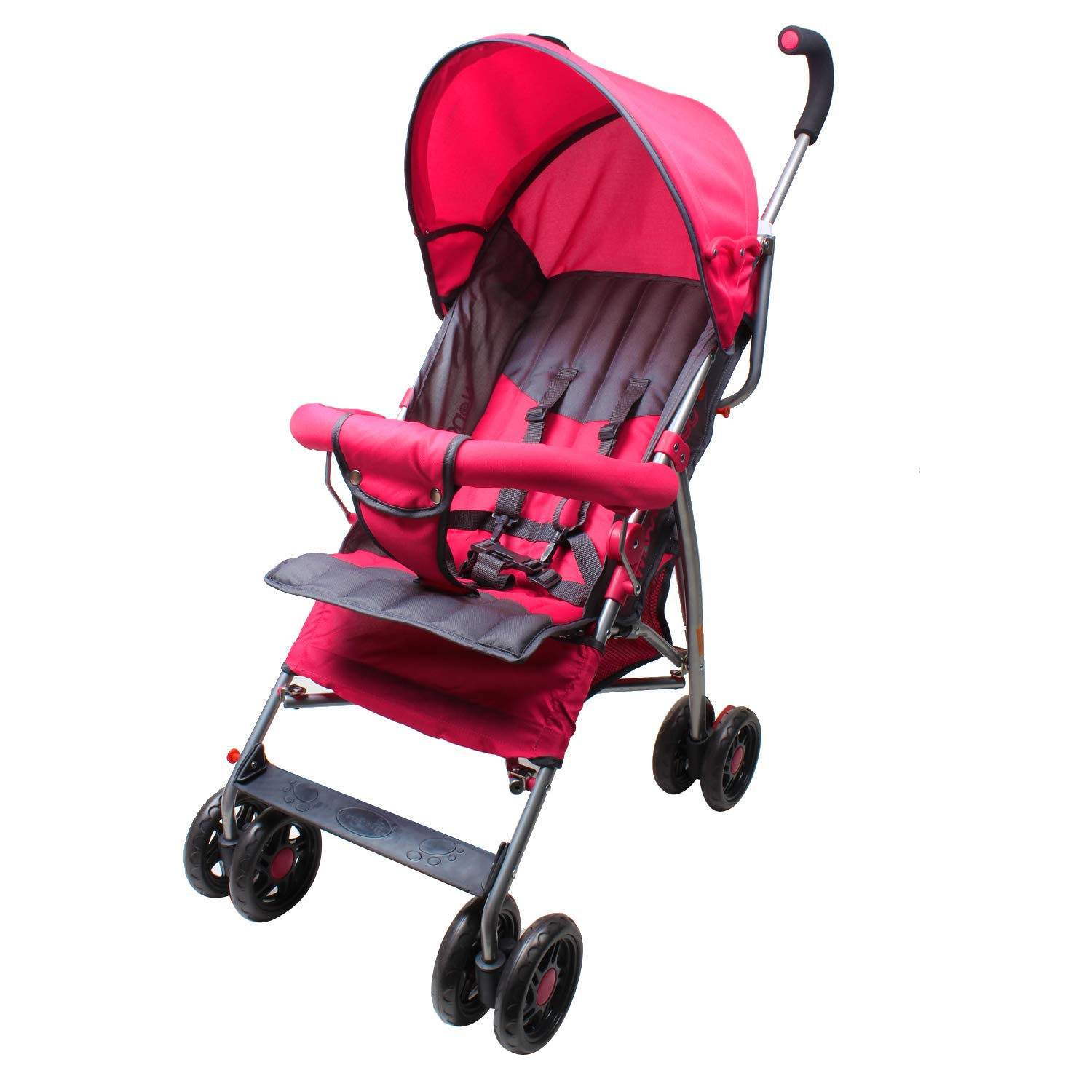 Wonder buggy Lightweight Stroller, Convenience Umbrella Baby Stroller with Front Bar Bumper, Rounded Hood and Basket, Two Position Foldable Infant Stroller Pushchair (Pink)