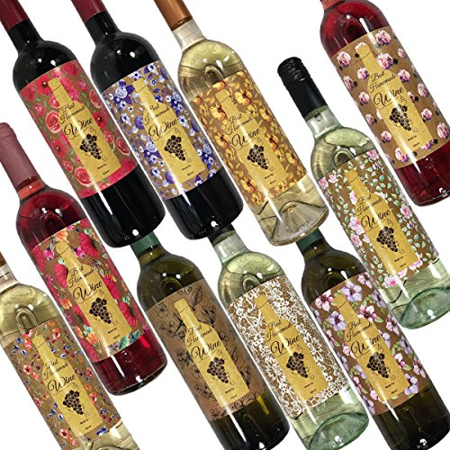 [Hatinkaart – Homemade Wine Bottle Labels – 100 Pack – Set of 10 Different Design Stickers – 3.93