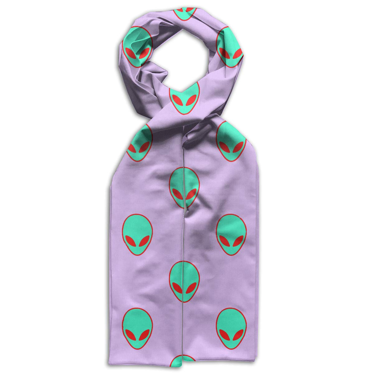 Green Alien Head Kids Printed Scarf Soft Winter Infinity Scarf Warmer Travel Scarf For Kids Perfect Birthday Gift