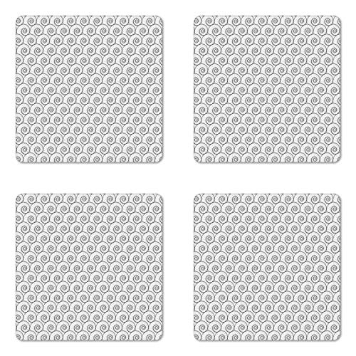 (Ambesonne Abstract Coaster Set of Four, Monochrome Welted Forms Voluted Inside Repeating in Regular Order Trippy Art, Square Hardboard Gloss Coasters for Drinks, Black and White )