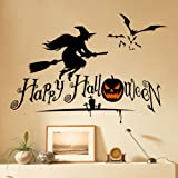"""Dnven (27""""w X 19""""h) Happy Halloween Pumpkins Spooky Cemetery Witch and Bats Tomb Wall Decals Window Stickers Halloween Decorations for Kids Rooms Nursery Halloween Party"""