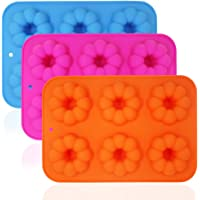 3 Pack Silicone Donut Molds, FineGood 6 Cavity Non-Stick Safe Baking Tray Maker Pan Heat Resistance for Cake Biscuit Bagels Muffins