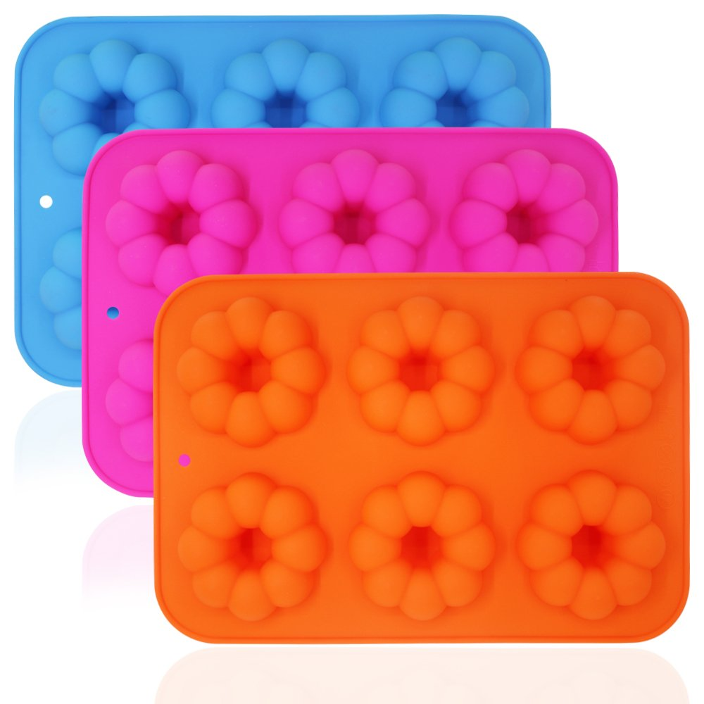 3 Pieces Pumpkin Shaped Silicone Donut Molds, Doughnut Baking Pans, FineGood 6-Cavity Reusable Cake Maker Cookie Tray for Kitchen, Dishwasher, Oven, Microwave, Freezer Safe - Blue, Orange, Red Rose