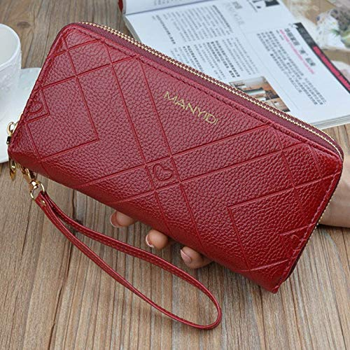 Wallets Classic Ladies Hand Wallet Double Layer Double Zipper Long-style large-capacity Peach heart embossed handset bag coin purse