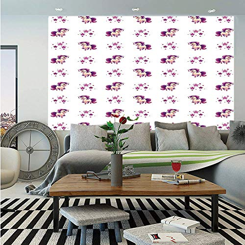 Girls Wall Mural,Little Mythical Horse Pony Unicorn with Stars and Dots Fantasy Theme Artwork Print Decorative,Self-Adhesive Large Wallpaper for Home Decor 83x120 inches,White Violet