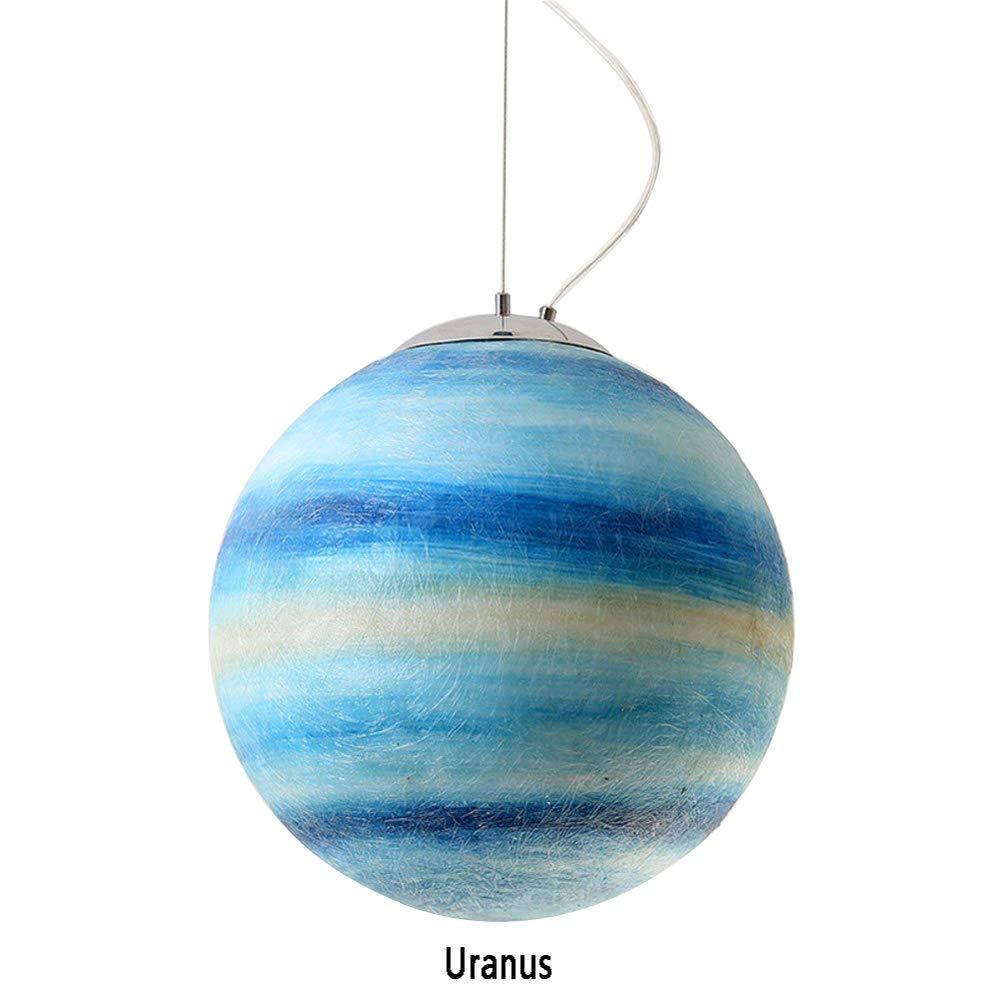 Universe Planet Chandelier, Earth Sun Moon Venus Jupiter Uranus Mars Saturn Pendant Light, E27 Resin Lampenschirm 12W,Wohnzimmerrestaurant Hotel Art Deco Leuchten,Uranus,30cm