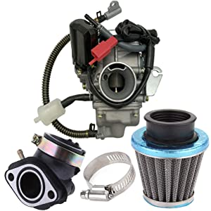 150cc Carburetor for GY6 4 Stroke Engines Electric Choke Motorcycle Scooter 152QMJ 157QMI with Air Filter Intake Manifold