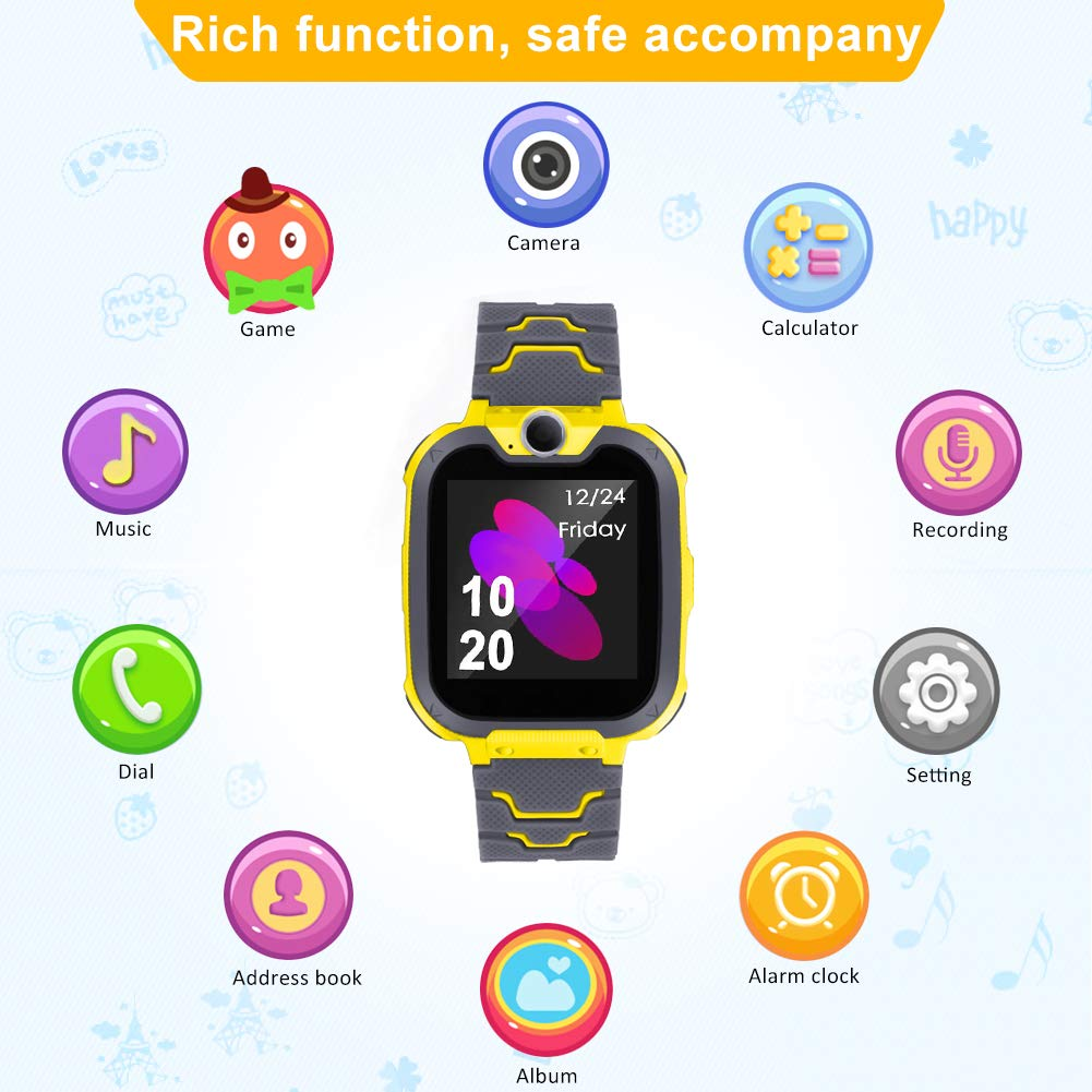 Smart Phone Watches For Kids Game Watch With Camera Touch Screen Digital Wrist Phone Watch Music Player For 3-12 Year Old Boys Girls Ipx5 Waterproof Electronic Educational Learning Toys (Yellow) by LJRYCQSSZSF (Image #2)
