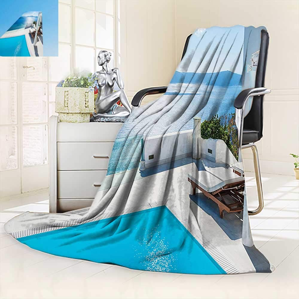 vanfan Unique Custom Blanket Collection Architecture on Santorini Island Greece Swimming Pool Hotel Sea View Pattern Blue,Silky Soft,Anti-Static,2 Ply Thick Blanket. (60''x36'')