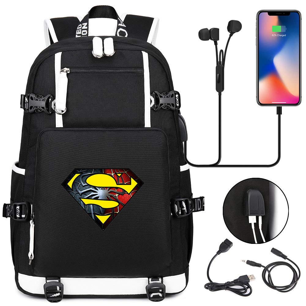 HD 3D printed superhero pattern USB charging headphones teen student bag men and women leisure travel backpack 17 inch 13 by Young Jay
