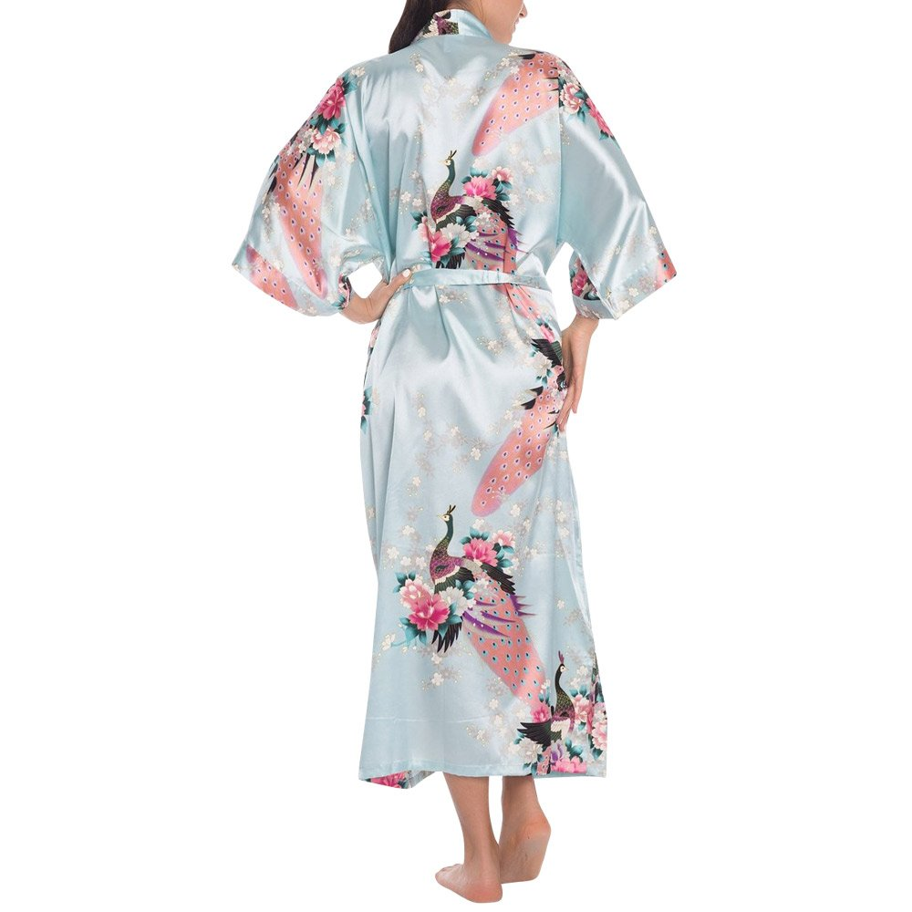 d50e5732061 Wiwsi Women s Kimono Robes Floral Nightwear Pajamas Bridesmaid Bathrobe  Dressing(Light Blue,M)  Amazon.in  Clothing   Accessories