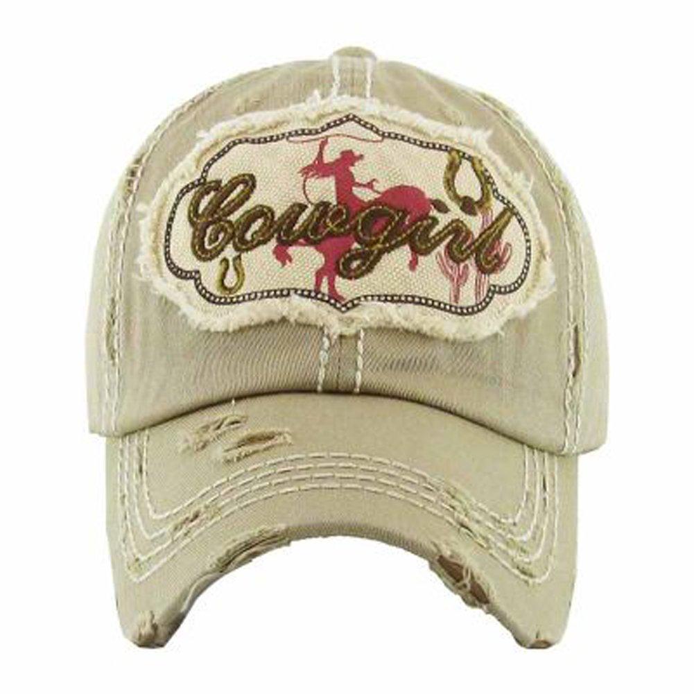 64950e5173ce Kbethos Trading Women's Cowgirl Distressed Vintage Baseball Hat (Khaki) at  Amazon Women's Clothing store: