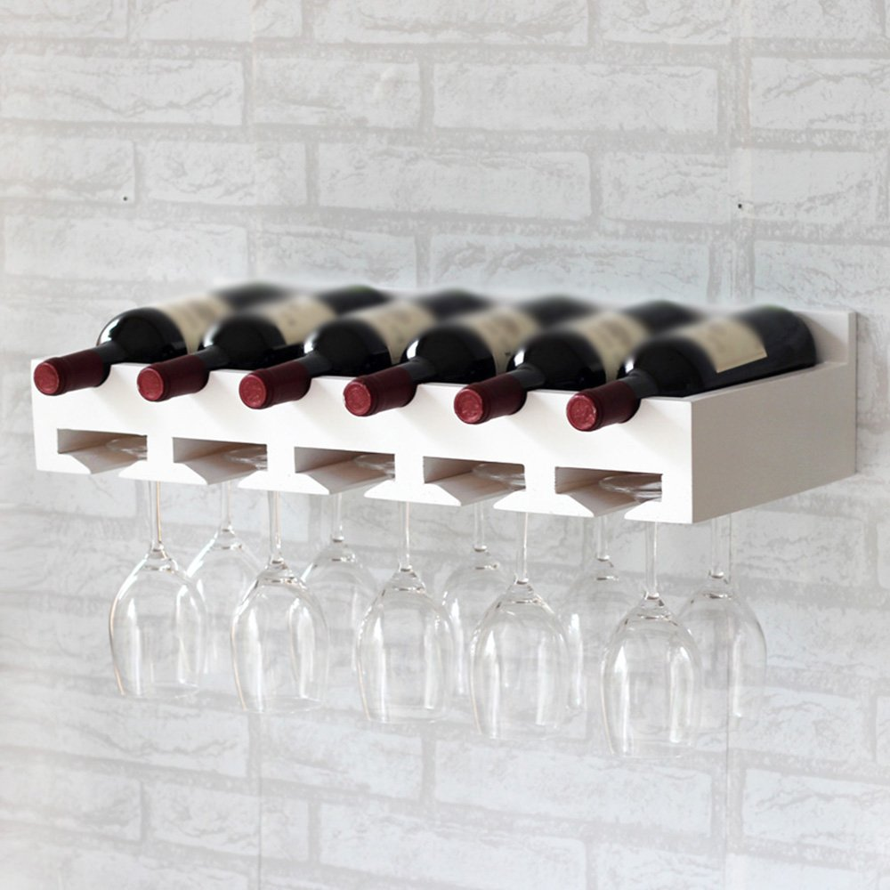 NAN Wine Racks Woody White Walnut 6 Bottles Decoration Wine Cup Holder Incorporated Decoration Fashion Creative Living Room Bar ( Color : White ) Nanianhuakai