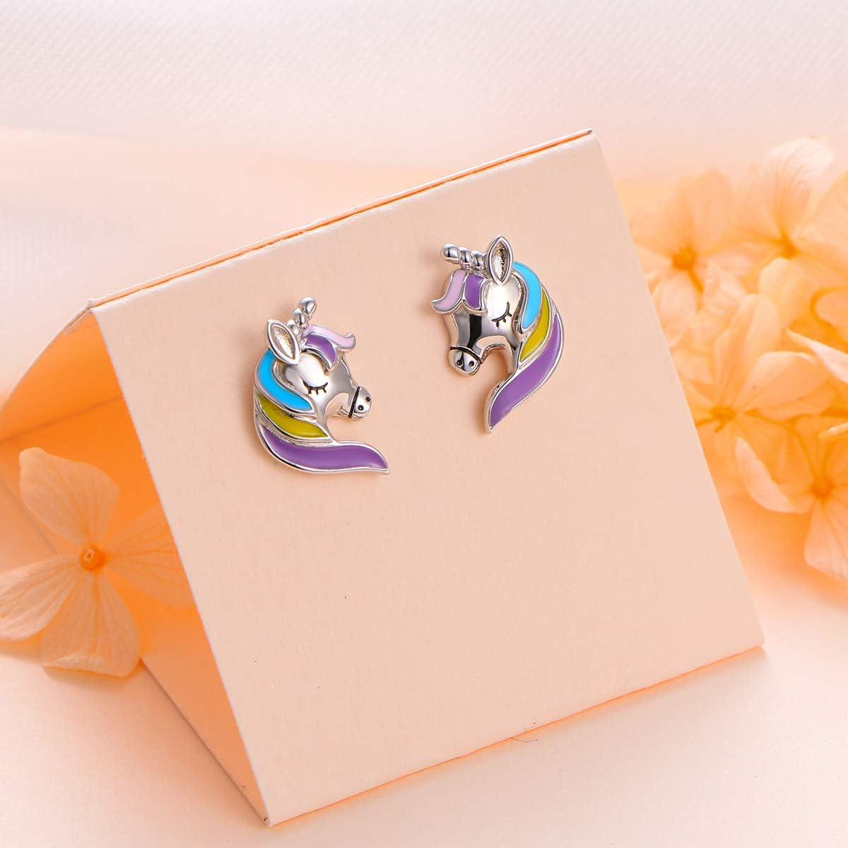 Flyow Boucles doreilles /à tige en forme de licorne en argent sterling 925 pour femme et fille