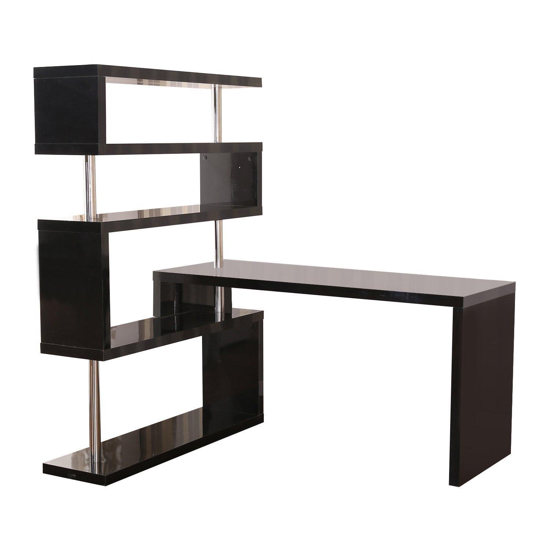 black office corner desk computer pc laptop rotating table w storage shelf new ebay. Black Bedroom Furniture Sets. Home Design Ideas