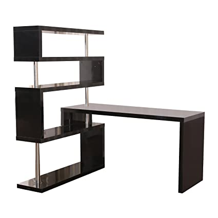 home office shelf. HomCom Rotating Home Office Corner Desk And Storage Shelf Combo - Black Home Office Shelf