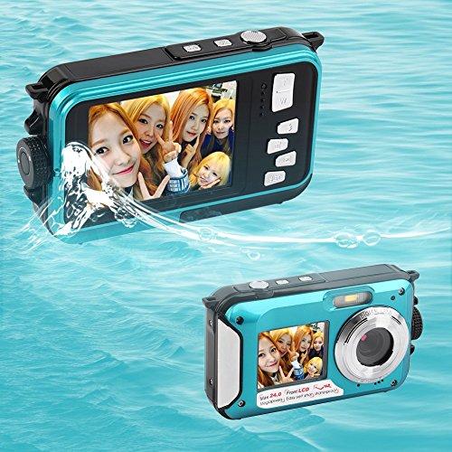 ORIGINAL eyeCam EC137 Unterwasser-Digitalkamera ( 24 Megapixel, Bildstabilisator, DUAL Bildschirm (vorne 6,8 cm = 2,7 Zoll und hinten 1,8 Zoll = 4,6cm) , 16-fach Zoom, wasserdicht bis 3 Meter) Farbe: blau