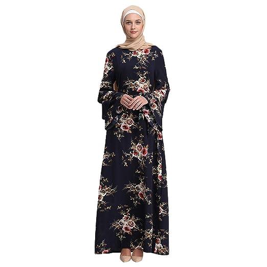 f04261c497f84 Amazon.com: ZOMUSAR 2019 Women Muslim Summer Print Trumpet Sleeve ...