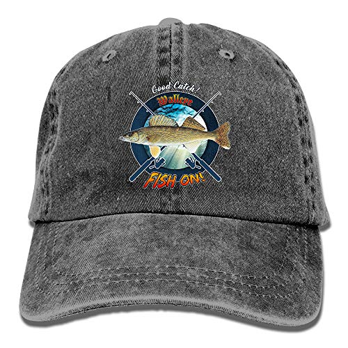 Personalized Fishing Cap with Walleye Fish Pattern Print, Vintage Black Dad Hat, Adult