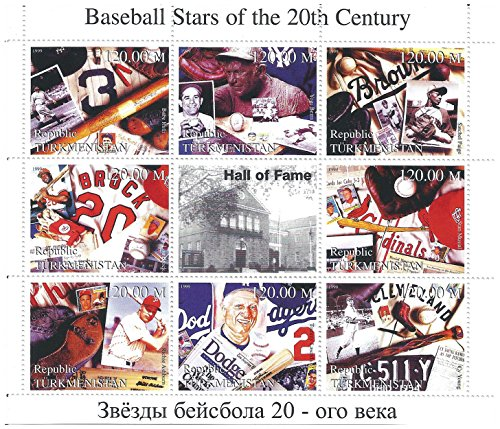 - Baseball stars of the 20th century collectable stamp sheet with Babe Ruth, Yogi Berra, Satchel Paige and others / Turkmenistan / 1999