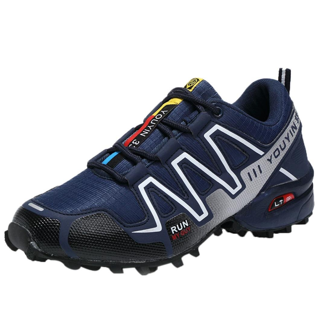 SUKEQ Men's Hiking Shoes, Lace Up Outdoor Hiking Boots Low Top Sport Running Sneakers for Boys (9.5 D(M) US, Dark Blue)