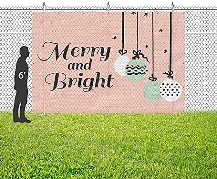 9x6 Merry and Bright Peach Wind-Resistant Outdoor Mesh Vinyl Banner Holiday Decor CGSignLab