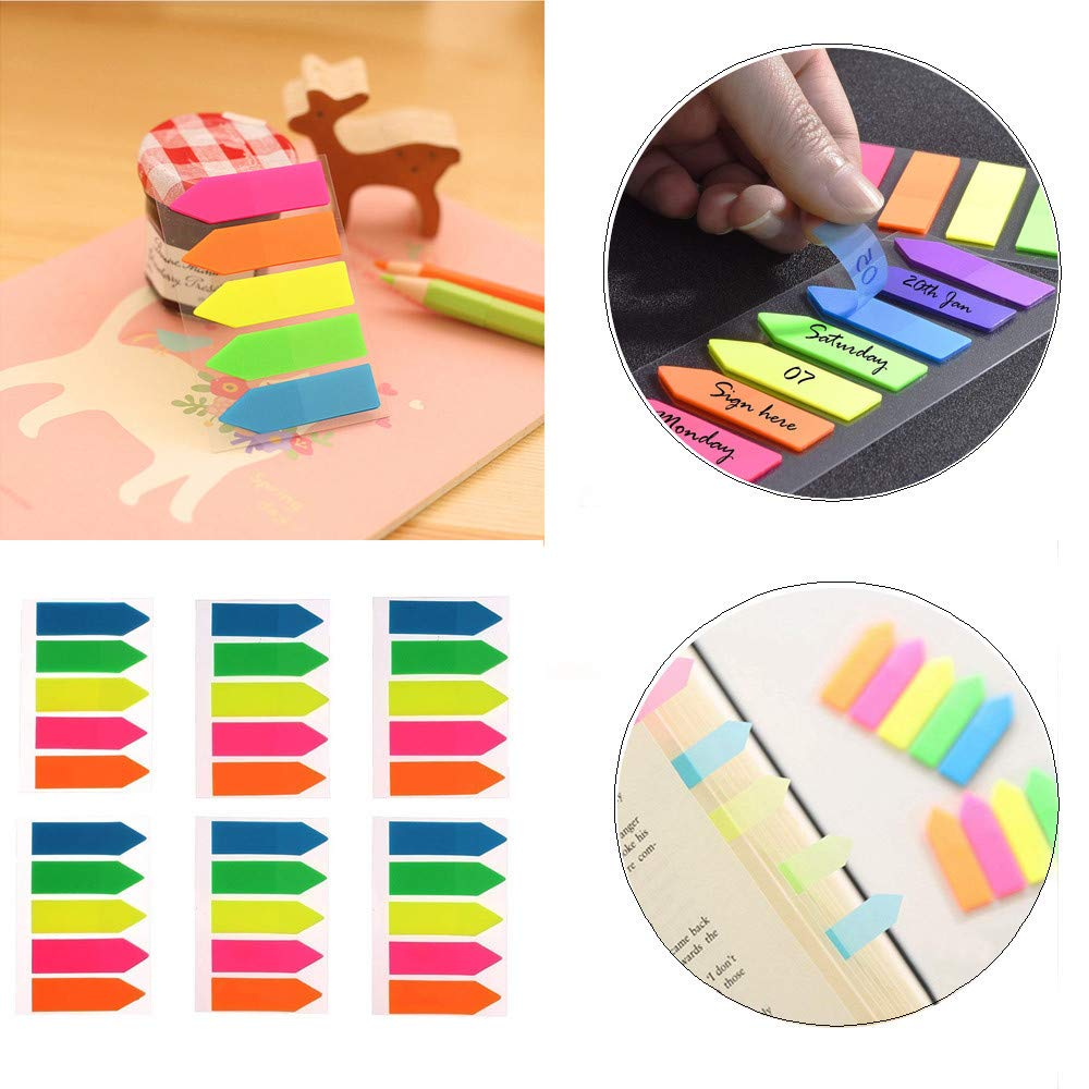 Sikye Fluorescent Classification Index Paste Label Stickers Highlighter Semi-transparent Sticker, 6 Sets/ 600 pcs(±10)