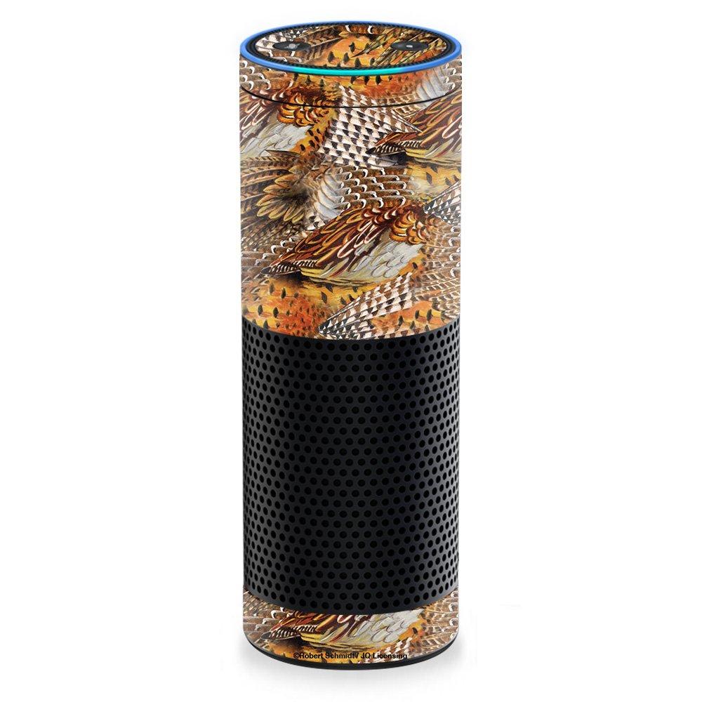 MightySkins Skin For Amazon Echo/Amazon Echo Plus � Pheasant Feathers | Protective, Durable, and Unique Vinyl Decal wrap cover | Easy To Apply, Remove, and Change Styles | Made in the USA